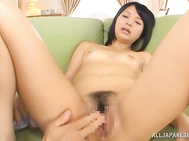 Enjoy insolent Japanese babe, Hitomi, while cracking her wet pussy with some big toys after properly finger fucking herself in a nasty solo masturbation scene.
