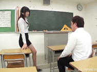 Hibiki Ohtsuki Asian teacher with glasses sucks dick.