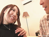 Horny Japanese lady Rina Uchimura cannot stay long without cock.