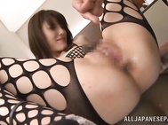 Horny AV sex doll Ayu Sakurai gets impaled on throbbing dick.