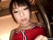 Horny babe Tsubomi in stocking plays with herself.