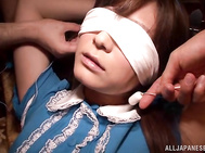 Hot and lusty Japanese doll Satou Haruka gets teased by two horny men.
