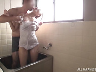 Hot Asian MILF Aoi Matsushima gets banged hard in the bathroom.