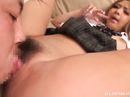 he savory beauty with superbly curved melons and nice ass gets her goodies caressed by her hardworking stud.