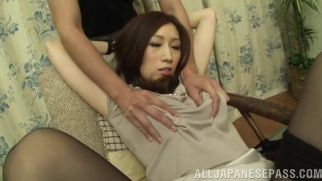 Hot Japanese milf Julia gets fucked by fancy toys.