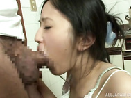 He is a horny guy and she gives him a blowjob before playing along with his desires and bends over, letting him pound her from behind in really sexy ways, until ending with a big load on her sexy boobs.