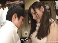 Horny Japanese wife, Kiyuri Aoki, is very excited to be around this guy and would love to get her hands on his dick and play with it in naughty ways.