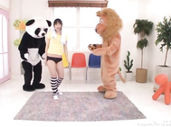 Naughty Japanese teen girl Nozomi Hazuki is happy to pose in front of a camera with two big live toys.