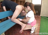Experienced Japanese teen babe Aya Shiomi cannot live without cock sucking, and she likes to demonstrate her perfect cock engulfing skills, taking her boyfriend's dick in her greedy mouth and sucking it in a great way.