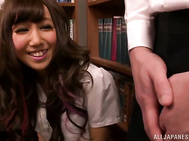 Kinky Japanese schoolgirl Mizuki Hinano screwed by two guys.