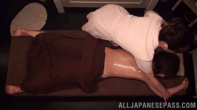 Steaming Japanese lesbian chick comes to a lesbian beauty salon for a day of hot full body massage and a portion of sex.