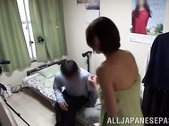 Lovely milf with short hair Minami Natsuki enjoys pussy fucking session.