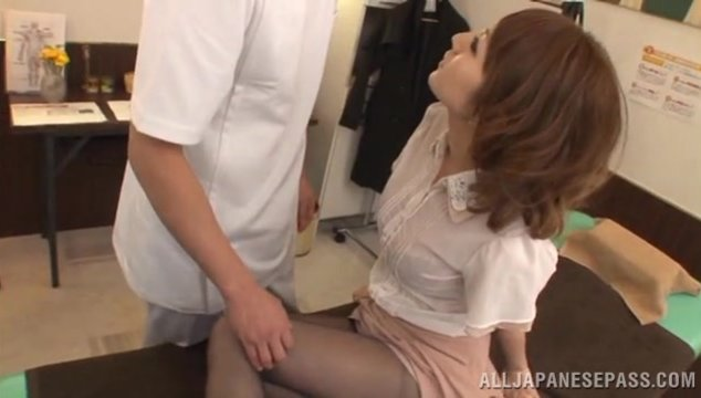 She looks so sexy in her nylon black pantyhose, and her masseur gets so hot.