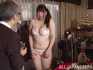 Cute Japanese sex doll with big tits and curvaceous body Chitose Saegusa has a procedure of body measurement.