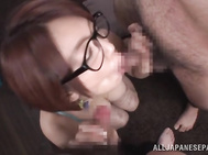 She sure knows amazing skills in stroking them and sucking them, providing mind blowing amateur blowjob until the last drop of cream splashing those sexy glasses.