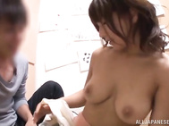 Watch her taking good care of his fat dick by stroking it hard and sucking it until having all the jizz splashing on her adorable boobs.