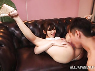 Sugary Asian AV model Ayu Sakurai flirts with her new impressive sex partner, showing off and demonstrating her peachy body parts.