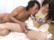 Pretty looking Japanese chick gets her hairy kitty screwed well.