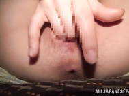 Alluring Asian model Riko Komori feels amazing while gently rubbing her tight vag in pure solo action.