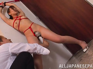 This insolent gal is ready to have an amazing time with her new boyfriend who managed to convince her into having their first bondage porn session together.