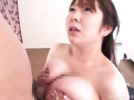 Her tits are shaking perfectly as cutie receives raw penetration in Asian porn show.