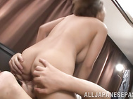 Horny milf Saijou Ruri enjoys having warm sex along her horny hubby who is eager to feel that fine pussy sliding over his stiff cock in one naughty hard sex scene.