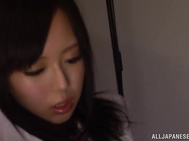 Schoolgirl Shiori Yamate enjoys cock in her tight pussy.