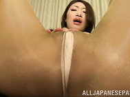 Sex-starved mature lady Reiko Kobayakawa rubs her needy pussy.