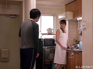 Sex with Asian mature babe Ryo Hitomi in kitchen.