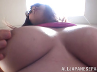 Sexy Asian lady with big tits and ass Naho Hazuki rides cock on pov.