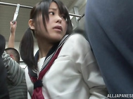 Uta Kohaku and Karen Hazuki are a couple hot Asian lesbians enjoying some time on a crowded bus for some public lesbian sex! This hot schoolgirl and her milf friend are into pussy stimulation and plenty of kissing while on the bus ride home from their sch
