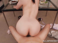 The naughty beauty gives perfect blowjob and gets impaled on his boner, arranging breathtaking rear banging!.