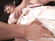 Sexy Japanese teen Yui Sasaki gets her nips licked and pussy pounded.
