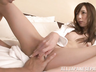 Stunning Japanese lady Kaede Fuyutsuki gets incredible pleasure of staying in bed with her new impressive lover.