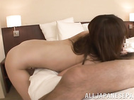 The guy likes her big tits and he licks them in ecstasy, and then opens her legs to explore her pussy, and he gets so excited when he sees her amazing shaved pink slit and plows her in Japanese porn style!.