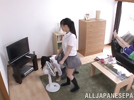 Steaming Japanese teen in school uniform gets naughty and decides to seduce a nice sexy guy.