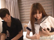 Gorgeous Japanese AV Model with juicy body curves comes to visit her horny boyfriend.