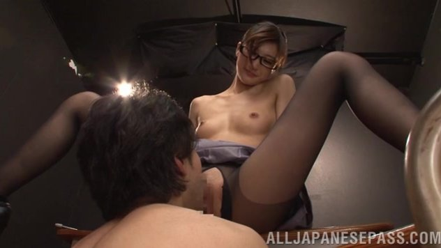Cute Japanese female teacher Ichika Kamihata gets naughty and arranges a kinky masturbation process in front of a group of horny guys.