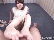 Talented Japanese milf Ririko Aise is so skillful in various sex games, and she knows how to please horny guys, so this time she wants to show off her skills to her new lover, and she gives his dick some kinky stimulation, giving the guy a cute hand job a