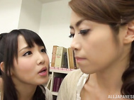 Skillful lesbians Ayaka Tomoda, and Maki Houjou fuck pussies with strapon.