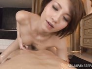She likes to give sexual pleasure to her horny boyfriend, and she licks his ass and feet, showing her extreme passion.