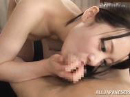 A slender Asian babe is licking her boyfriend's body, wearing sexy lingerie.