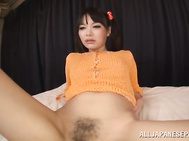 Cute Asian girl Arina Sakita all on her own decides to get freaky and play with her pleasure center, she does all she can to ensure her body is comfortable, she uses her middle finger so that she can finger herself deep while fantasizing about her big dic