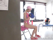 Solo girl session with horny Asian teen Tsubomi.