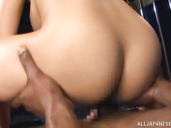 She works on his cock and swallows his dick in a hot blowjob getting a superb fuck afterwards.