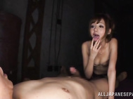 She then rides his pole passionately with her hairy cunt before she sucks him till he cums and she swallows.