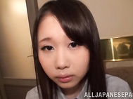 Sweet Asian teen girl gets her pink pussy fingered and rides big dick.