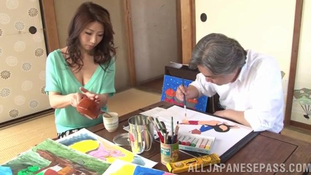 Sweet mature lady Ayumi Shinoda has hot sex with old guy.