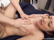 She gives the guys a double blowjob and enjoys doggy-style banging, getting cum in her mouth.