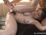 Japanese AV Model is an oiled beauty with a lovely form is insatiable for a great fuck and this guy is the right man to smash that tight vag in one nasty hardcore Asian porn show.